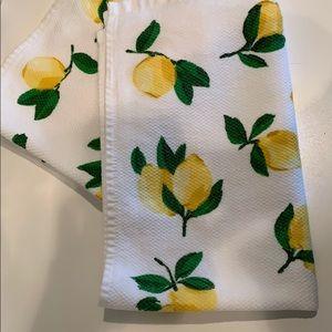 Two Kate Spade lemon dish towels